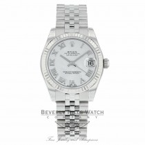 Rolex Datejust 31mm Stainless Steel 18k White Gold Fluted Bezel White Mother of Pearl Dial