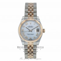 Rolex Datejust 31MM Everose and Stainless Fluted Bezel White Mother Of Pearl Roman Numerals Dial Jubilee 178271 1JY2AH