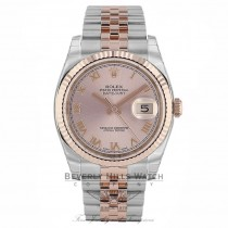 Rolex Datejust 36mm Stainless Steel 18k Rose Gold Pink Roman Dial Jubilee Bracelet 116231 TQWRK7 - Beverly Hills Watch Company