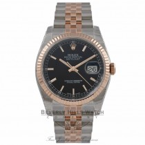 Rolex DateJust 36mm 18k Rose Gold and Stainless Steel Black Dial 116231 YTRK1Z - Beverly Hills Watch Company