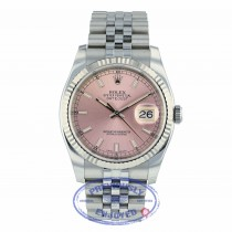 Rolex Datejust Pink Stick Dial White Gold Fluted Bezel 116234 97YD4W - Beverly Hills Watch Company