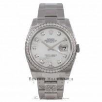 Rolex Datejust 36mm Stainless Steel Oyster Bracelet Mother of Pearl Diamond Dial Diamond Bezel 116244 PTUVT6 - Beverly Hills Watch Company