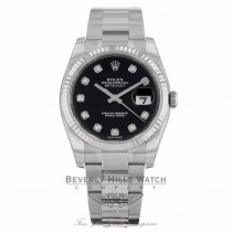 Rolex Datejust 36mm Stainless Steel White Gold Fluted Bezel Black Diamond Dial 116234 7LVAWC - Beverly Hills Watch Company