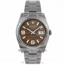 Rolex Datejust 36mm Stainless Steel White Gold Fluted Bezel Bronze Jubilee Diamond Dial 116234 TRNNVT - Beverly Hills Watch Store