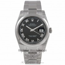 Rolex Datejust 36MM Stainless Steel Domed Bezel Black Dial 116200 JJ16DN - Beverly Hills Watch Store