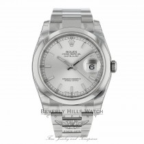 Rolex Datejust Stainless Steel 36mm Oyster Bracelet Domed Bezel Silver Stick Dial 116200 EL5L02 - Beverly Hills Watch Company