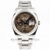 Rolex Datejust 36mm Stainless Steel Smooth Bezel Oyster Bracelet Bronze Floral Motif Dial Watch 116200 Beverly Hills Watch Company