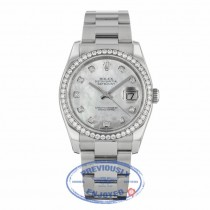 Rolex Datejust 36mm Stainless Steel Oyster Bracelet Mother of Pearl Diamond Dial Diamond Bezel 116244 - Beverly Hills Watch