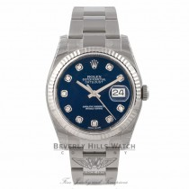 Rolex Datejust 36mm Stainless Steel White Gold Fluted Bezel Blue Diamond - Beverly Hills Watch Store