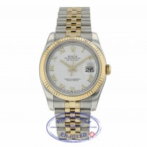 Rolex Datejust 36mm Yellow Gold and Steel Fluted Bezel White Dial Roman Jubilee Bracelet 116233 J6VW5M - Beverly Hills Watch Company
