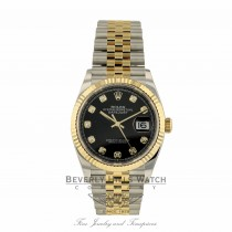 Rolex Datejust 36mm Stainless Steel and Yellow Gold Black Diamond Dial 126233 NDX6M7