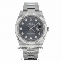 Rolex Datejust 41mm 18k White Gold Bezel Rhodium Diamond Dial Stainless Steel Oyster Bracelet 126334 56H1F4 - Beverly Hills Watch