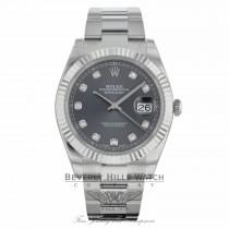 Rolex Datejust 41mm 18k White Gold Bezel Rhodium Diamond Dial Stainless Steel Oyster Bracelet 126334 56H1F4 - Beverly Hills Watch