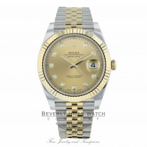 Rolex Datejust 41mm Steel and Yellow Gold Champagne Diamond Dial Jubilee Bracelet 126333 VT38K5 - Beverly Hills Watch