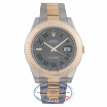 Rolex Datejust II 41mm Stainless Steel and Yellow Gold Slate Roman Dial Watch 116333 - NPFKA4 - Beverly Hills Watch Company