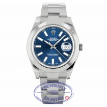 Rolex Datejust II Stainless Steel 41mm Smooth Bezel Oyster Bracelet Blue Stick Dial 116300 7483ZW - Beverly Hills Watch Company