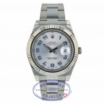 Rolex Datejust II 41mm White Gold Fluted Bezel Stainless Steel Silver Arabic Dial 116334 FFEVRJ- Beverly Hills Watch