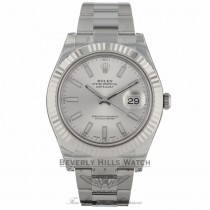 Rolex Datejust II 41mm Stainless Steel White Gold Fluted Bezel Oyster Bracelet Watch 116334 60NWTX - Beverly Hills Watch Company Watch Store