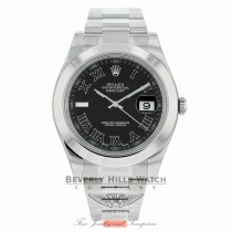 Rolex Datejust II Stainless Steel 41mm Smooth Bezel Black Roman Dial Watch 116300 VT1KMU - Beverly Hills Watch Company