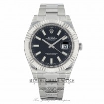 Rolex Datejust II 41mm Black Stick Dial Stainless Steel White Gold Fluted Bezel Oyster Bracelet 116334 EXNYFM - Beverly Hills Watch