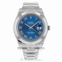Rolex Datejust II Stainless Steel 41mm Smooth Bezel Oyster Bracelet Blue Roman Dial Watch 116300 THMA37 - Beverly Hills Watch Company