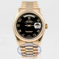 Rolex Day Date President Bracelet 18K Rose Gold Bracelet Black Arabic Numeral Dial Watch 118205 Beverly Hills Watch Company Watches