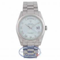 Rolex Day Date 36mm Glacier Blue Roman Dial President Bracelet 118206 9UF73R - Beverly Hills Watch Company