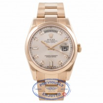 Rolex Day-Date President 36MM 18k Rose Gold Domed Bezel Pink Diamond Markings 118205 4IXT6C - Beverly Hills Watch Company