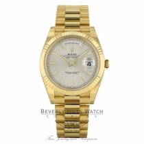 Rolex Day-Date President 40MM Yellow Gold Fluted Bezel Silver Motif Dial 228238 2554X4 - Beverly Hills Watch Company