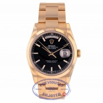 Rolex Day-Date 36mm 18k Rose Gold Black Dial 118205 TA8XWX - Beverly Hills Watch