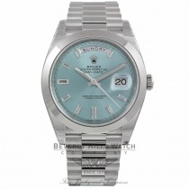 Rolex Day Date 40mm Automatic Ice Blue Dial Platinum 228206 M1R8ZK - Beverly Hills Watch Company