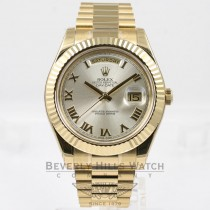 Rolex Day Date II 41mm 18K Yellow Gold President Bracelet Fluted Bezel Silver Roman Dial Watch 218238 Beverly Hills Watch Company Watches