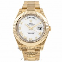 Rolex Day-Date II President 18K Yellow Gold Fluted Bezel 218238 HQF5TN - Beverly Hills Watch Company Watch Store