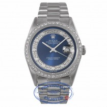Rolex Platinum President Day Date 36mm Blue Diamond Dial Diamond Bezel 18206 DPJX8K - Beverly Hills Watch Company Watch Store