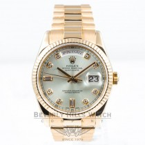 Rolex Day Date 18K Rose Gold President Bracelet Silver Diamond Dial Watch 118205 Beverly Hills Watch Company Watches