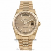 Rolex Day-Date President Bracelet 18K Yellow Gold Fluted Bezel Champagne Dial 118238 6PQTWP - Beverly Hills Watch Company Watch Store