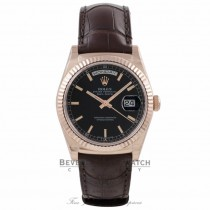 Rolex Day Date 36MM Everose Black Dial Tobacco Alligator Strap 118135 6LPCHV - Beverly Hills Watch Company Watch Store