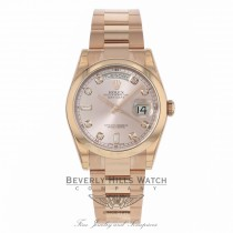 Rolex Day-Date President 36MM 18k Rose Gold Domed Bezel Pink Champagne Diamond Dial 118205 - Beverly Hills Watch Store