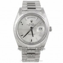 Rolex Day-Date 40 Silver Quadrant Motif Dial 18K White Gold President Watch 228239 QMX2W1 - Beverly Hills Watch Company