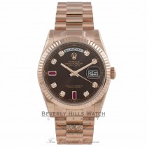 Rolex Day-Date 36mm Everose Chocolate Ruby & Diamond Fluted Bezel President Bracelet 118235 CM11QR - Beverly Hills Watch Company