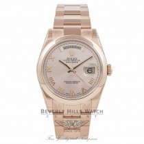 Rolex Day-Date President 36MM 18k Rose Gold Domed Bezel Pink Roman118205 GEWE1N - Beverly Hills Watch Company Watch Store