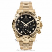 Rolex Daytona 18k Yellow Gold Black Diamond Dial 40MM 116528 TMRD4D - Beverly Hills Watch Company Watch Store
