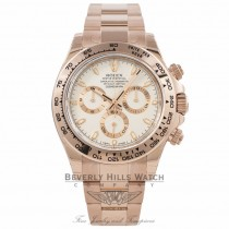 Rolex Daytona Everose Gold 40mm Oyster Bracelet Ivory Dial Chronograph Watch 116505 XMKQCF - Beverly Hills Watch Store