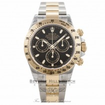 Rolex Daytona 40mm Stainless Steel and Yellow Gold Oyster Bracelet Black Dial Chronograph Watch 116523 MAPEPZ- Beverly Hills Watch Company Watch Store