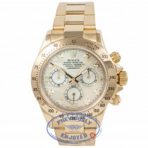 Rolex Daytona Yellow Gold Oyster Bracelet Mother of Pearl Diamond Dial 40mm Automatic Chronograph Watch 116528 Beverly Hills Watch Company Watch Store