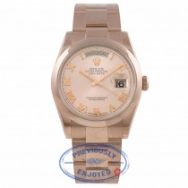 Rolex Day-Date President 36MM 18k Rose Gold Domed Bezel Pink Roman 118205 0AL4AL - Beverly Hills Watch Company Watch Store