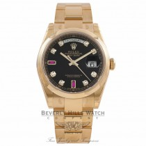 Rolex Day-Date President 36MM Yellow Gold Black Diamond & Ruby Dial 118208 2E4YXT - Beverly Hills Watch Store