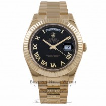 Rolex Day-Date II President 18K Yellow Gold 41MM Fluted Bezel Black Dial 218238 LCEX2X - Beverly Hills Watch Company Watch Store