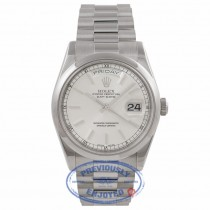 Rolex Platinum President Day Date 36mm Silver Dial Index Markings Domed Bezel 118206 JNNVEJ - Beverly Hills Watch Company Watch Store