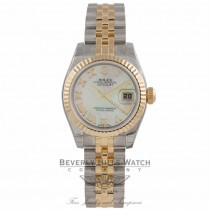 Rolex Ladies Datejust 26MM 18k Yellow Gold Stainless Steel Fluted Bezel White Mother of Pearl 178173 ET9FCR - Beverly Hills Watch Company Watch Store
